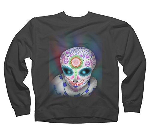 Alien Sugar Skull Men'S Small Charcoal Graphic Crew Sweatshirt