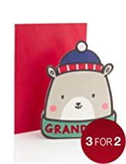 Grandson Flocked Polar Bear Christmas Card