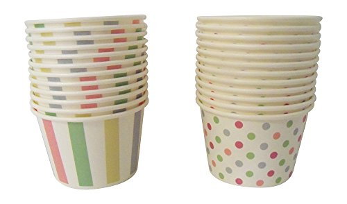 Paper Ice Cream Cups - Pastel Stripes & Polka Dots Design, 24 Count (Party Ice Cream Cups compare prices)