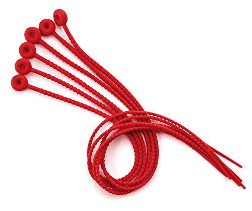 Lacor 60448 Lacets de Cuisine Silicone Rouge Lot de 6