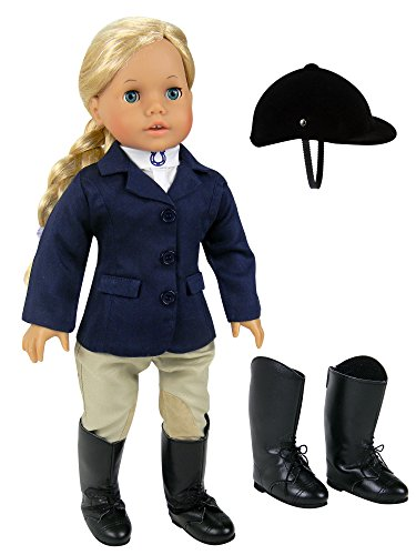 18 Inch Doll Horse Riding Outfit, 5 Piece Complete Navy Equestrian Set fits 18 Inch American Girl Dolls & More! Includes Boots and Helmet | Gift Bag Included