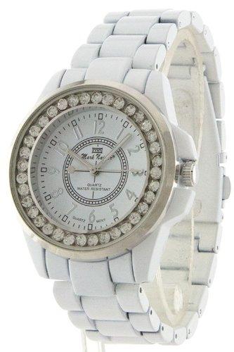 Trendy Fashion Jewelry Rhinestone Edged Metal Strap Watch By Fashion Destination | (White)