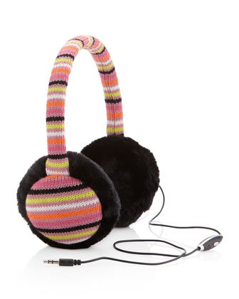 Chunky Cable Knit Headphone Earmuffs,Stripe/Black