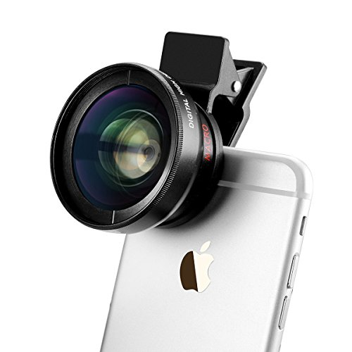 TECHO Universal Professional HD Camera Lens Kit for iPhone 6s / 6s Plus / 6 / 5s, Mobile Phone (0.45x Super Wide Angle Lens, 12.5x Super Macro Lens)