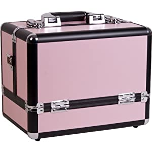 12 inch Pink Panel w/Black Trim Travel Cosmetic Organizer Makeup Artist Train Case