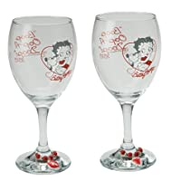 Vandor Betty Boop Wine Glasses, Set of 2