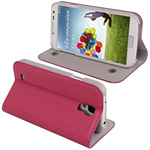 Crazy4Gadget Lichi Texture Leather Case with Holder for Samsung Galaxy S IV / i9500 (Magenta)