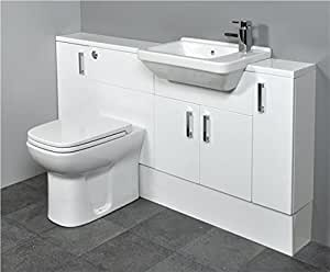 SLIMLINE Gloss White Bathroom Furniture 1500mm Square