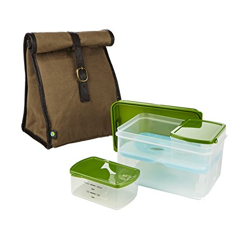 Fit & Fresh Classic Insulated Lunch Bag Kit with Reusable Containers (Waxed Canvas Lunch Bag compare prices)