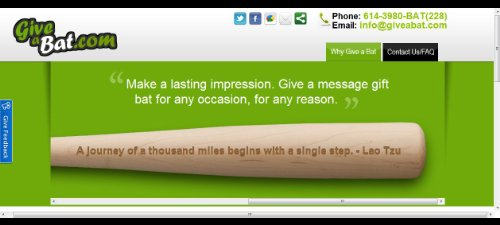 Buy Personalized Message Bat by GiveaBat.com