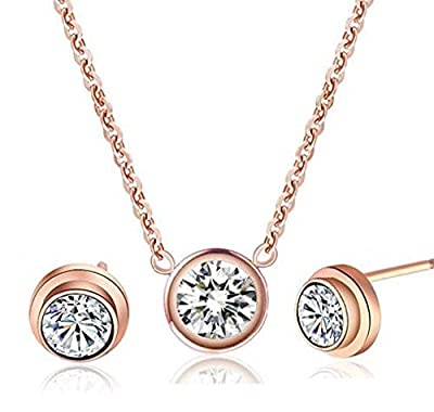 findout 14K rose gold plated titanium steel single diamond pendant necklace + earring set ,for women girls,(f1327)