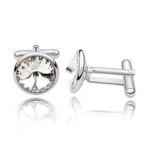 Fervent Love Boutique Fashion Jewelry Austrilian Crystal Round White Cuff Link For Women Girls