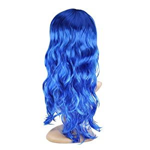 WMA Women's Long Curly Fancy Dress Wigs Blue Cosplay Costume Ladies Wig Party