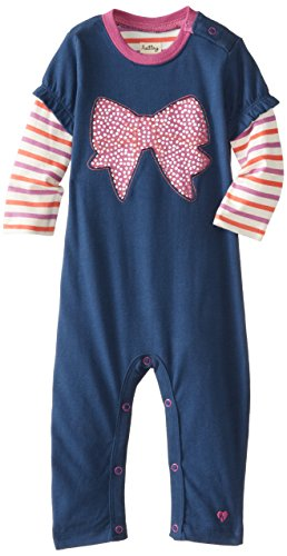Hatley - Baby Girls Infant Infant Girls Graphic Romper - Party Bows, Blue, 12-18 Months back-957641