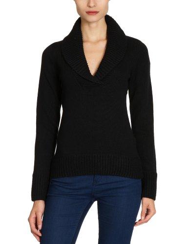 ESPRIT - Maglia a scialle, manica lunga, donna, nero (Schwarz (Black 001)), L