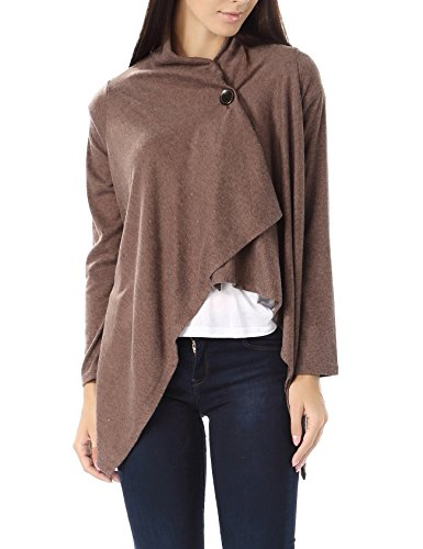 Bepei Women One Button Wrap-Style Cardigan Brown XL