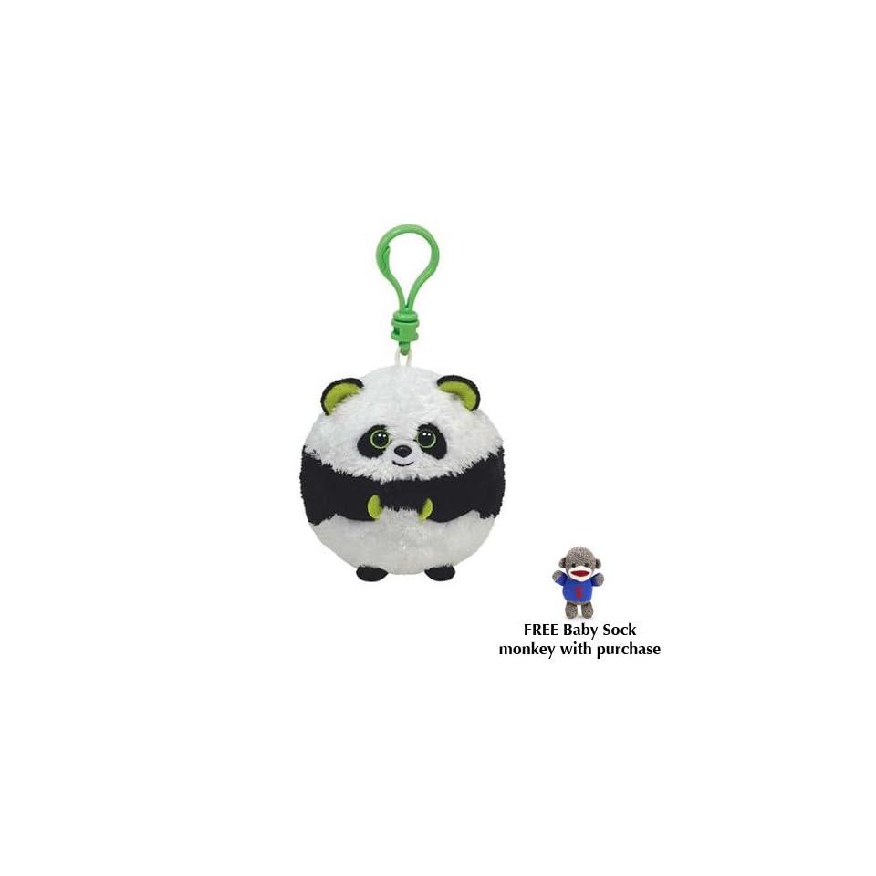 157ba829374 TY Beanie Ballz (Plastic Key Clip) BONSAI the Panda w Free Baby Sock Monkey  Toys   Games