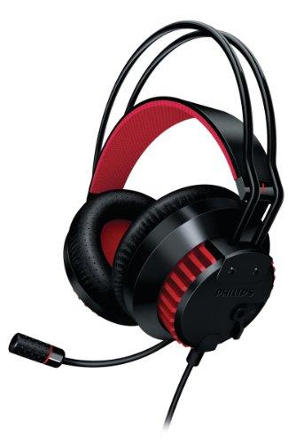 Philips SHG8000/10 Gaming PC-Kopfhörer 40mm inkl. Lautstärkeregler, Lederpolster schwarz/rot