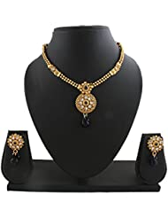 Anuradha Art Golden Tone Styled With Blue Colour Stone Traditional Necklace Set For Women/Girls