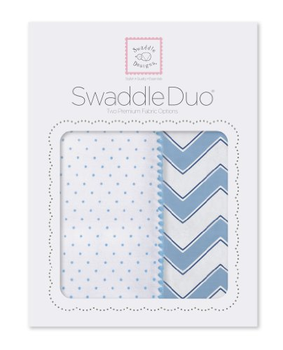 SwaddleDesigns SwaddleDuo, Classic Chevron Duo (Set of 2 in Blue)