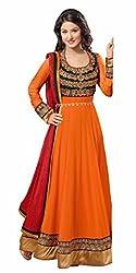 Mandani Fashion women's Fuax Georgette Party Wear Unstitched dress material(SF13_orange color)