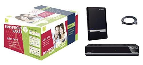 Telestar digiHD TT5 IR DVB-T2 HD freenetTV Einsteigerpaket Receiver+Antenne+HDMI Kabel (digiHD TT 5IR, Antenna 7 LTE schwarz, 1,5m HDMI Kabel, H.265/HEVC, inkl. 3 Monate Guthaben, HDMI, AV-Ausgang, USB, LAN) schwarz