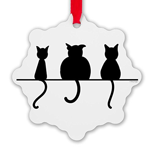Snowflake Ornament Three Black Cats on a Wall (Russian Blue Cat Ornament compare prices)