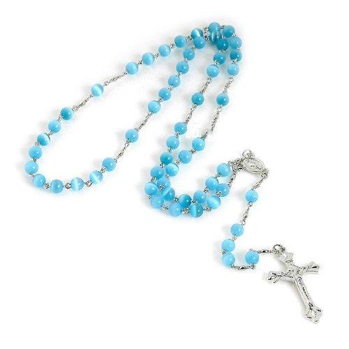 Aquamarine Blue Rosary Necklace