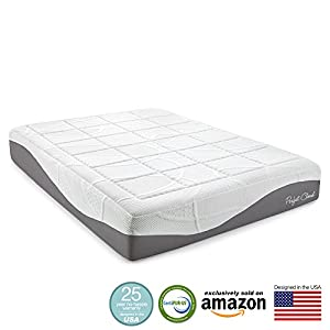 Perfect Cloud Elegance Gel-Pro 12 Inch Memory Foam Mattress - Amazon Exclusive Model Featuring Luxurious Fabrics & Double Layer of Visco Gel Cool Design - 25 Year Warranty