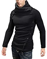 DJT Men Stylish High Collar Slim Fitted Casual Pullover Top Sweatshirt Shirt