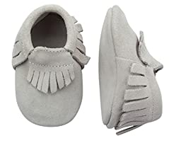 Unique Baby Unisex Quality Suede Moccasins(M 5 Inches) Light Gray