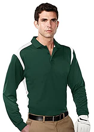 Tri mountain mens 100 polyester l s knit shirt w rib cuff for Polyester button up shirt