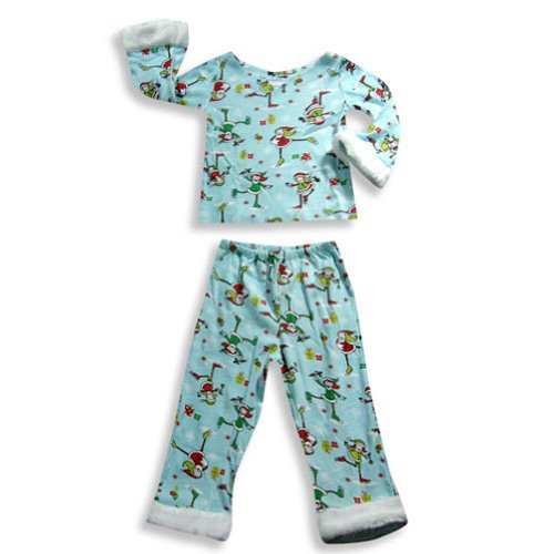 Saras Prints - Little Girls Long Sleeve Holiday Skate Pajamas, Light Blue 18334-3 front-666487