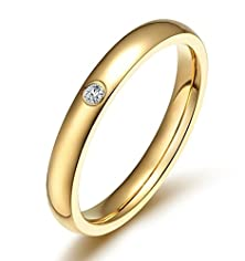buy Womens Rings Stainless Steel Gold Cz Cubic Zirconia Round Size 6 By Aienid