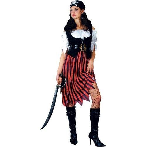 Neu Piratin Rot Schwarz Verkleidung für Frauen Karneval Halloween Kostüm S
