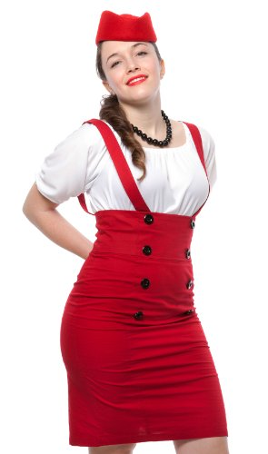 Pencil Skirt - High Waisted Suspender Skirt - Red