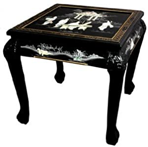 Your Special Deals Oriental Furniture Fine Asian Decor 21 5 Inch Claw Foot Chinese Lacquer Oriental End Table Black Red Side Table Thanhluan00022