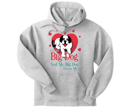 Big Dogs Men's Love My Big Dog Graphic Hoodie Light Steel 6X