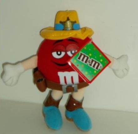 Red M & M Candy Sheriff Plush with Backpack Clip - 1