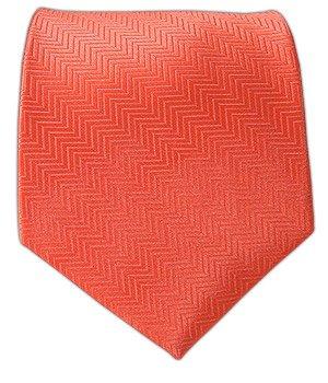 100% Silk Woven Solid Herringbone Coral Tie