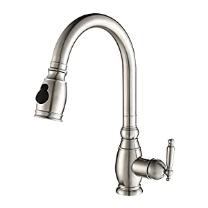 Kraus KPF-2150 Single Lever Stainless Steel Pull Out Kitchen Faucet