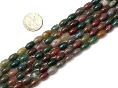 6x9mm olivary gemstone indian agate beads strand 15