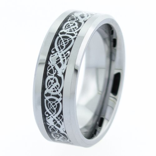 8Mm Tungsten Ring With A Flat Top And Beveled Sides With A Dragon Pattern In The Center - Size 10
