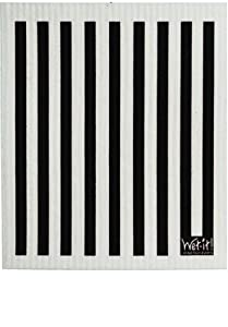Swedish Treasures Wet-it! Cleaning Cloth, Works Great in Kitchen, Bathroom or Any Room, Reusable & Biodegradable, Black Stripe
