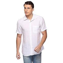 Laven White Linen Regular Collared Men's Casual Shirt