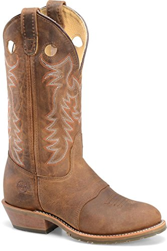 Double-H Boots Women'S 12 Inch Ultragel Icetm Buckaroo Brown Full Grain 7 M Us