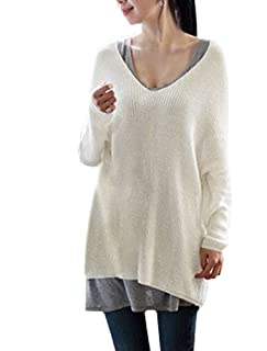Allegra K Women Warm Knitting Stretch Long Sleeve Scoop Neck Winter Sweater White L