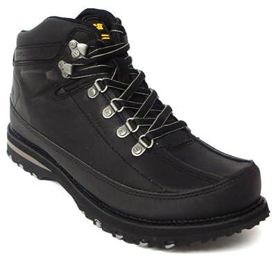 mens black leather cat hiking walking boots black uk