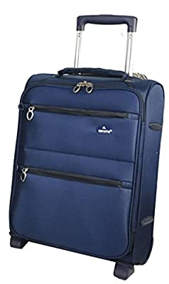 """Cabin Approved 18Ó & 21Ó Lightweight Hand Luggage, Ryanair/Easyjet/BA Cabin Approved Wheeled Trolley Suitcase Bags, Trolley Wheeled Luggage Bags for 55x40x20cm & 50x40x20cm carry on small baggage 18"""" Navy (2 Wheel)"""