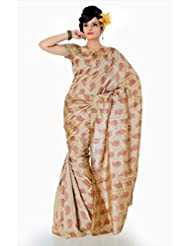 Designersareez Women Bhagalpuri Silk Printed Beige Saree With Unstitched Blouse(842)